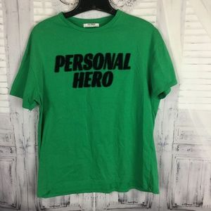 Zara Green Tee Personal Hero Trafaluc Medium
